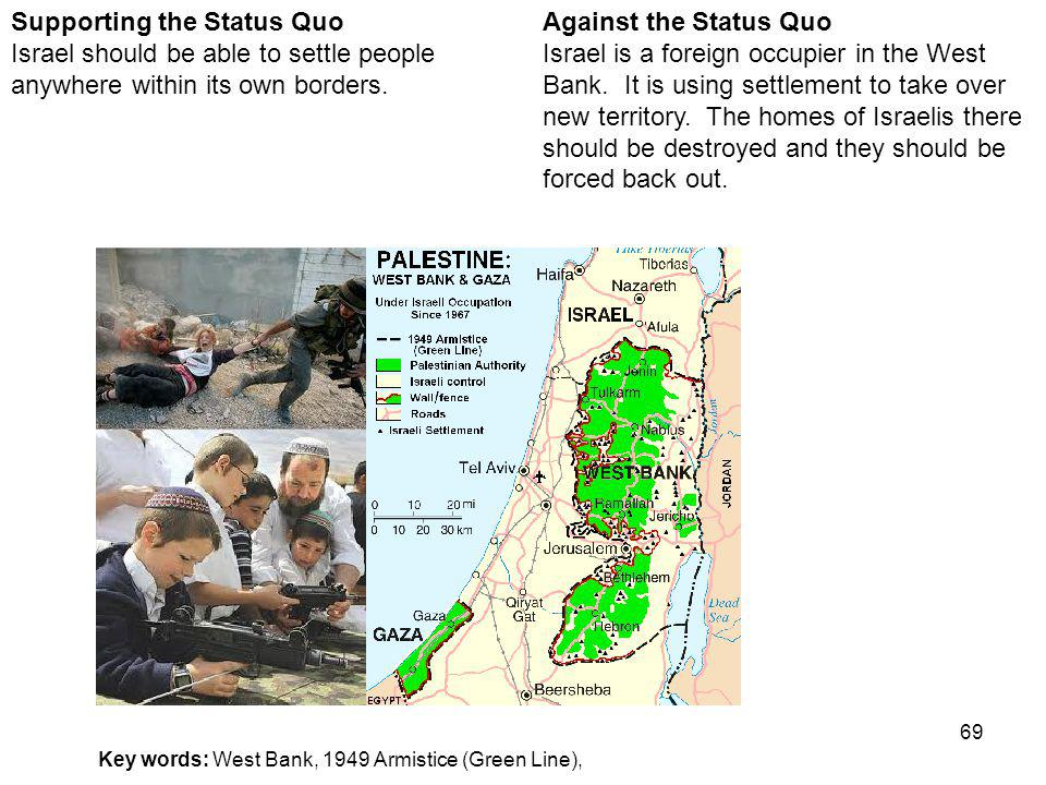 69 Against the Status Quo Israel is a foreign occupier in the West Bank.