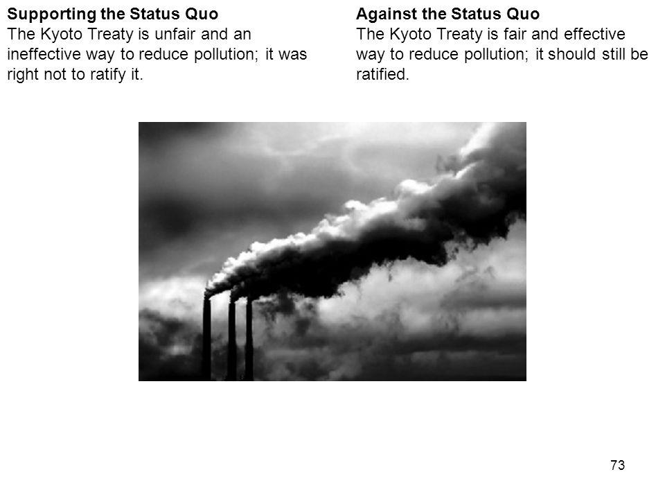 73 Against the Status Quo The Kyoto Treaty is fair and effective way to reduce pollution; it should still be ratified.