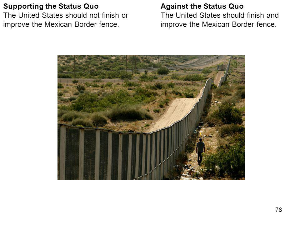 78 Mexican Border Fence Against the Status Quo The United States should finish and improve the Mexican Border fence.