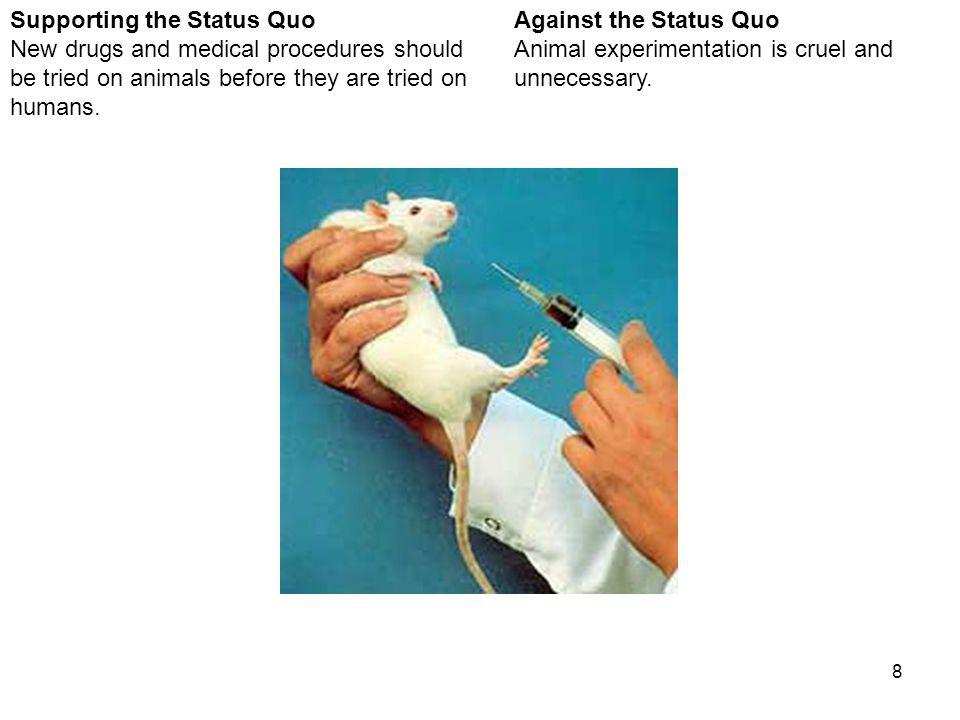8 Against the Status Quo Animal experimentation is cruel and unnecessary.