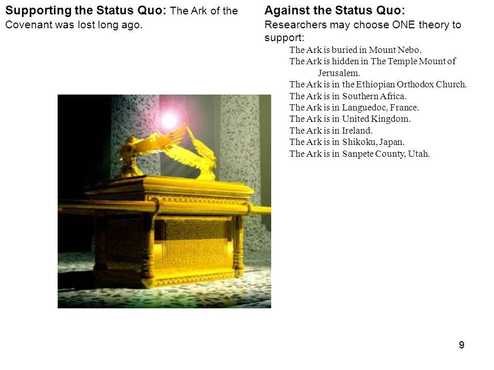 99 Against the Status Quo: Researchers may choose ONE theory to support: The Ark is buried in Mount Nebo.