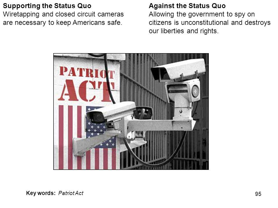 95 Against the Status Quo Allowing the government to spy on citizens is unconstitutional and destroys our liberties and rights.