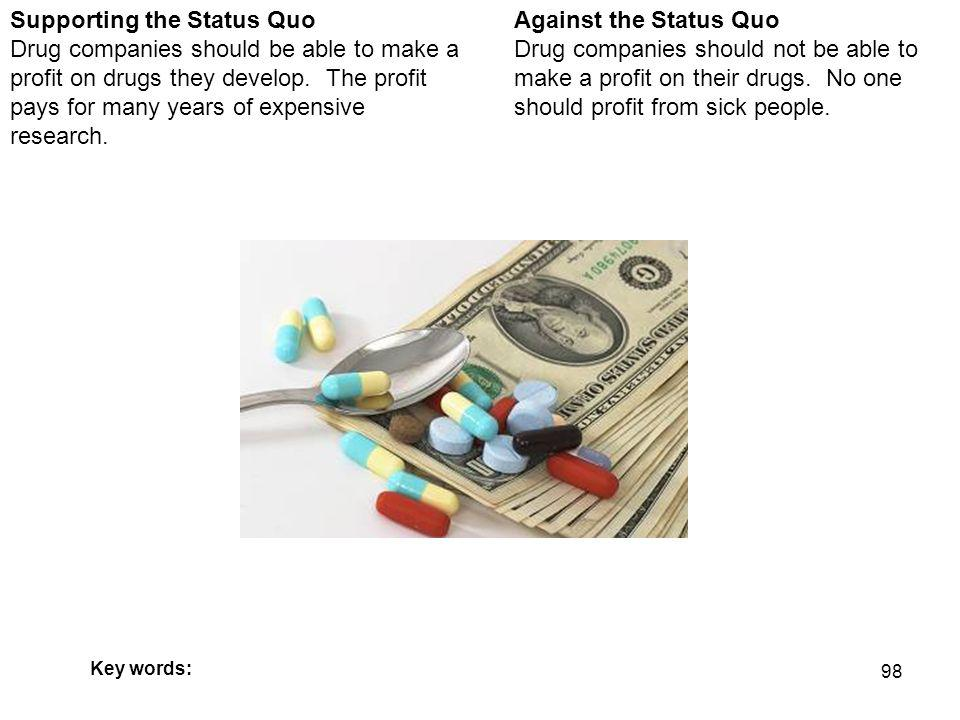 98 Against the Status Quo Drug companies should not be able to make a profit on their drugs.