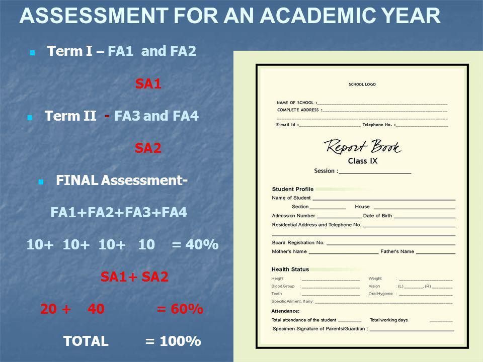 ASSESSMENT FOR AN ACADEMIC YEAR Term I – FA1 and FA2 SA1 Term II - FA3 and FA4 SA2 FINAL Assessment- FA1+FA2+FA3+FA4 10+ 10+ 10+ 10 = 40% SA1+ SA2 20