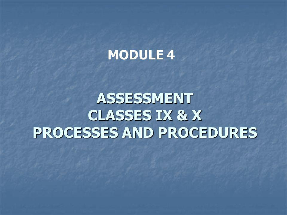 MODULE 4 ASSESSMENT CLASSES IX & X PROCESSES AND PROCEDURES