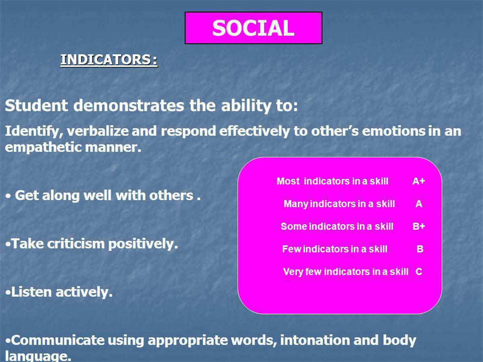 SOCIAL Student demonstrates the ability to: Identify, verbalize and respond effectively to others emotions in an empathetic manner.