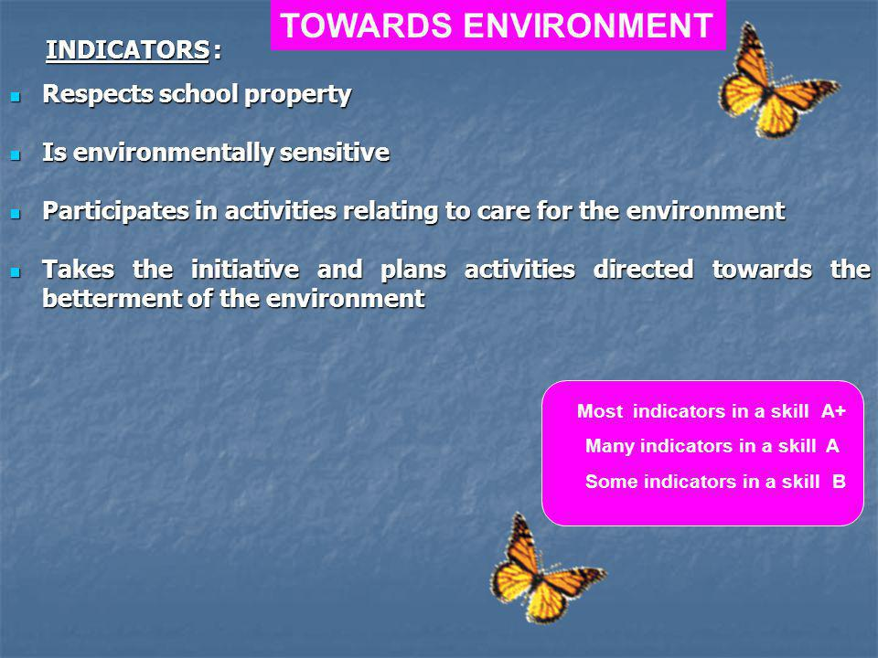Respects school property Respects school property Is environmentally sensitive Is environmentally sensitive Participates in activities relating to care for the environment Participates in activities relating to care for the environment Takes the initiative and plans activities directed towards the betterment of the environment Takes the initiative and plans activities directed towards the betterment of the environment TOWARDS ENVIRONMENT Most indicators in a skill A+ Many indicators in a skill A Some indicators in a skill B INDICATORS :