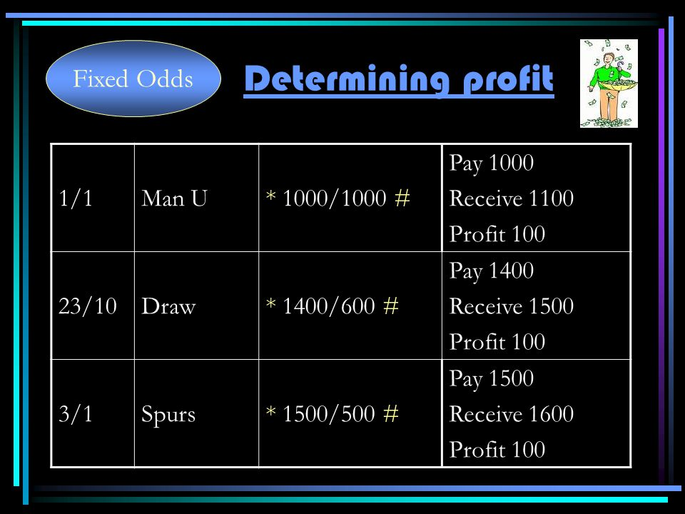 1/1Man U* 1000/1000 # Pay 1000 Receive 1100 Profit 100 23/10Draw* 1400/600 # Pay 1400 Receive 1500 Profit 100 3/1Spurs* 1500/500 # Pay 1500 Receive 1600 Profit 100 Determining profit Fixed Odds