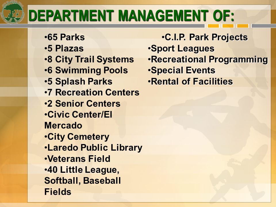 DEPARTMENT MANAGEMENT OF: C.I.P. Park ProjectsC.I.P.