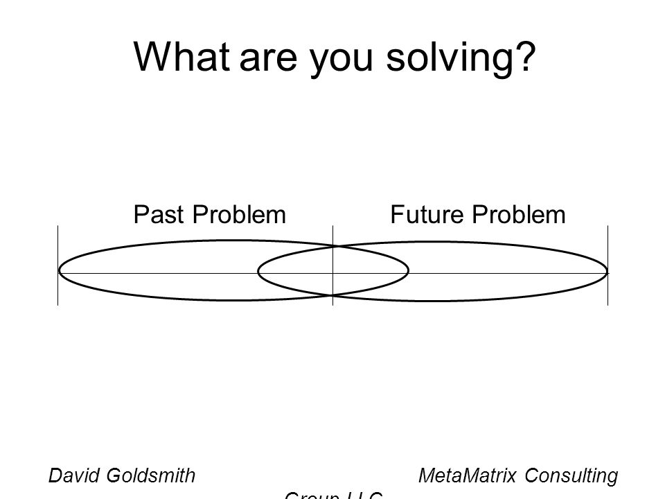 David Goldsmith MetaMatrix Consulting Group LLC What are you solving? Past ProblemFuture Problem