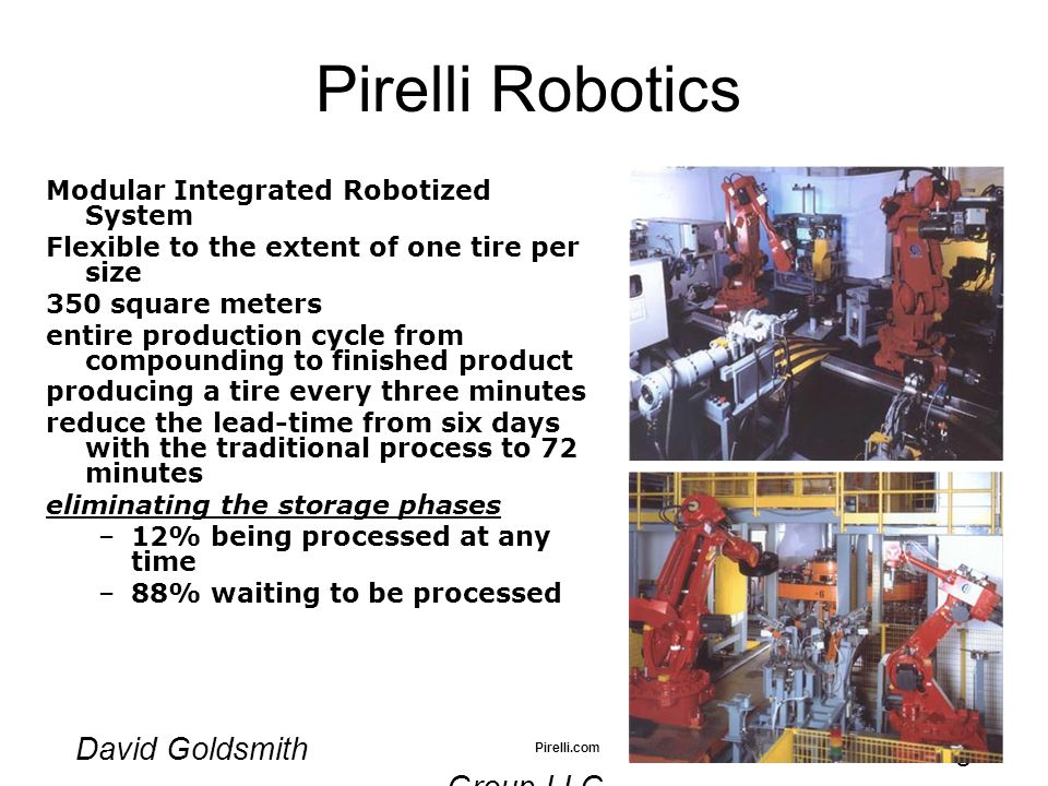 David Goldsmith MetaMatrix Consulting Group LLC Pirelli Robotics Modular Integrated Robotized System Flexible to the extent of one tire per size 350 square meters entire production cycle from compounding to finished product producing a tire every three minutes reduce the lead-time from six days with the traditional process to 72 minutes eliminating the storage phases –12% being processed at any time –88% waiting to be processed Pirelli.com