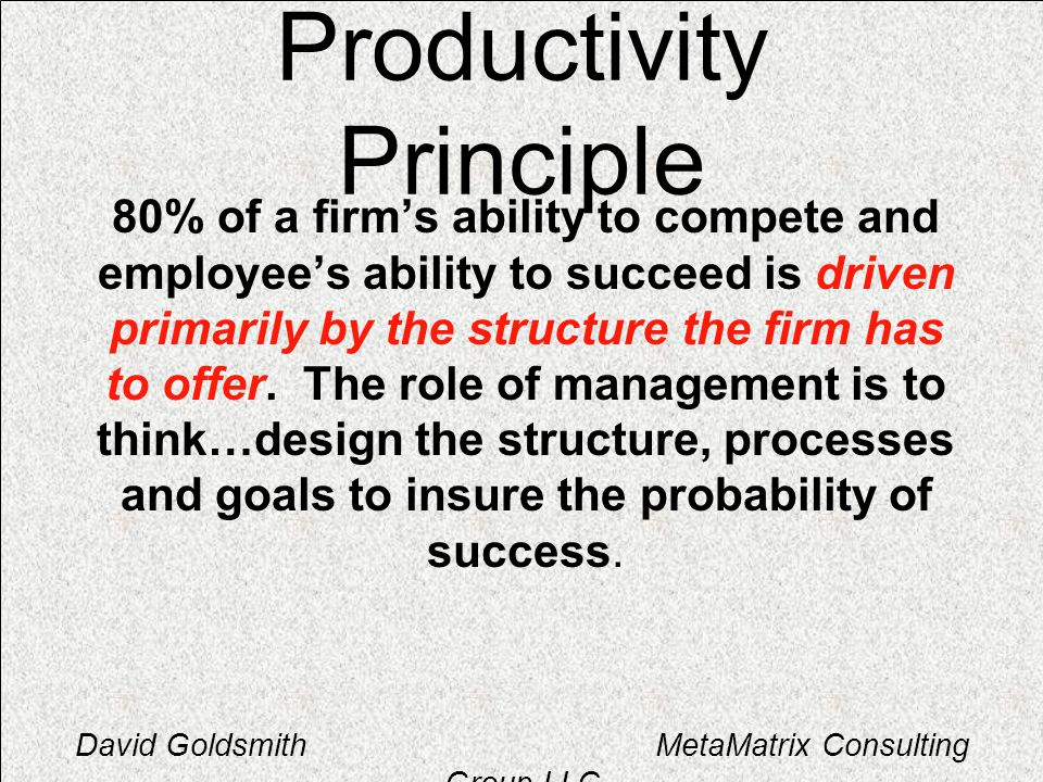 David Goldsmith MetaMatrix Consulting Group LLC Productivity Principle 80% of a firms ability to compete and employees ability to succeed is driven pr