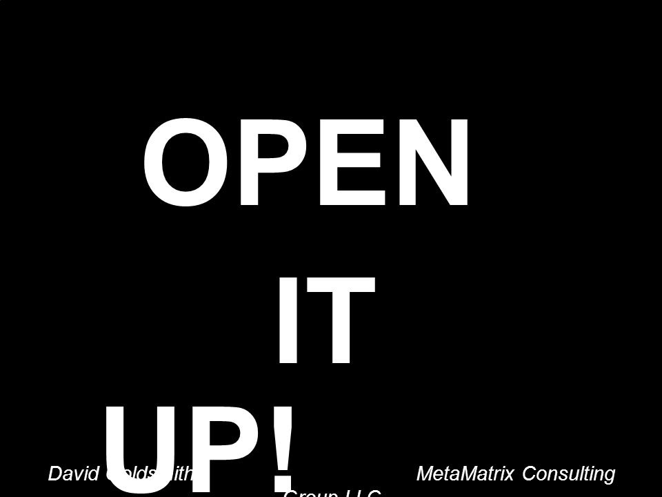 David Goldsmith MetaMatrix Consulting Group LLC OPEN IT UP.