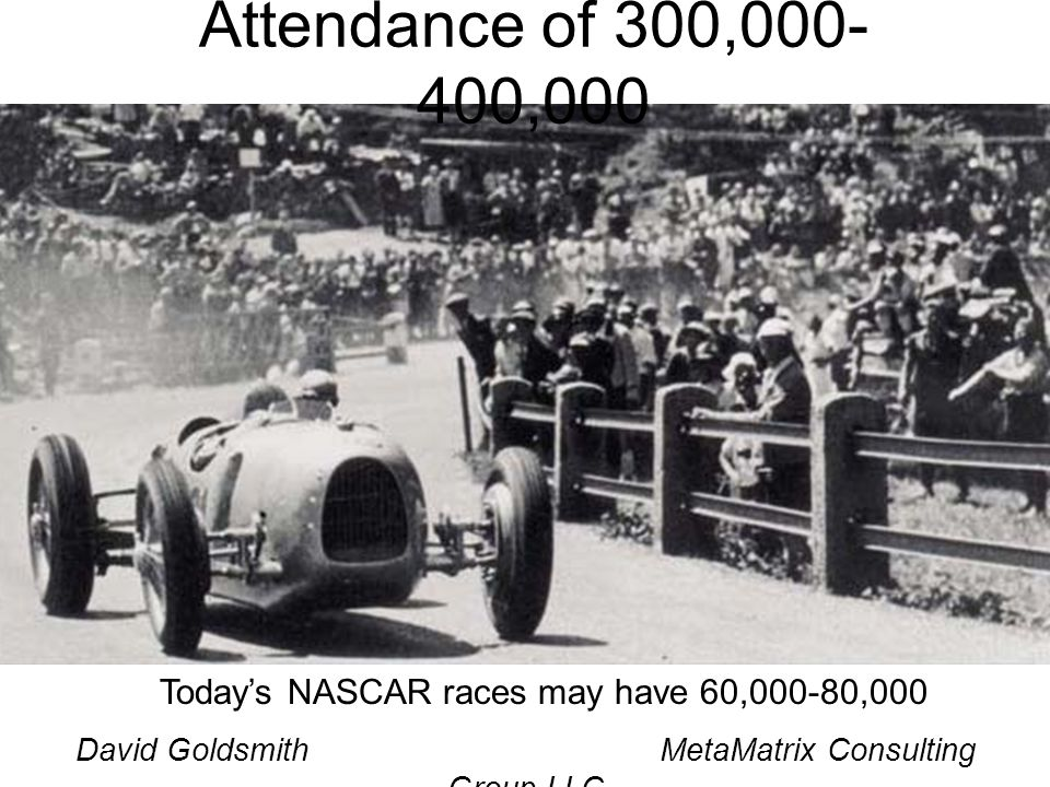 David Goldsmith MetaMatrix Consulting Group LLC Todays NASCAR races may have 60,000-80,000 Attendance of 300,000- 400,000