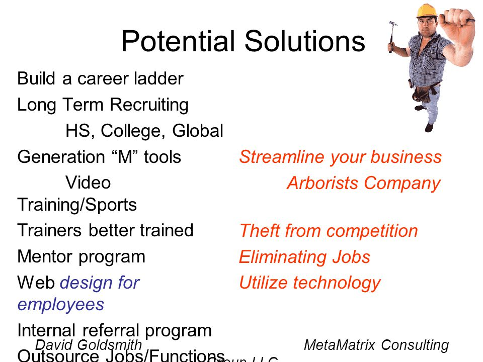 David Goldsmith MetaMatrix Consulting Group LLC Potential Solutions Build a career ladder Long Term Recruiting HS, College, Global Generation M tools Video Training/Sports Trainers better trained Mentor program Web design for employees Internal referral program Outsource Jobs/Functions Streamline your business Arborists Company Theft from competition Eliminating Jobs Utilize technology