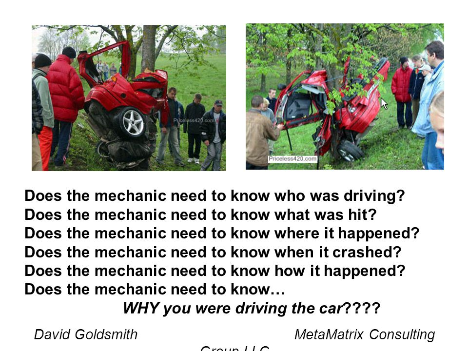 David Goldsmith MetaMatrix Consulting Group LLC Does the mechanic need to know who was driving? Does the mechanic need to know what was hit? Does the