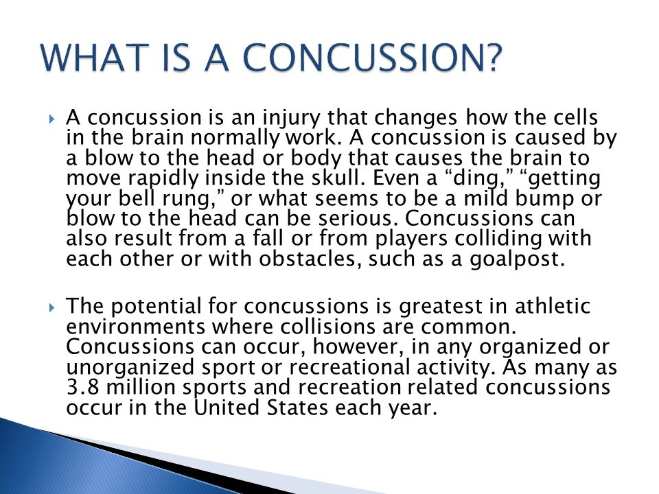 If you think your athlete has sustained a concussion… take him/her out of play, andseek the advice of a healthcare professional experienced in evaluating for concussion.