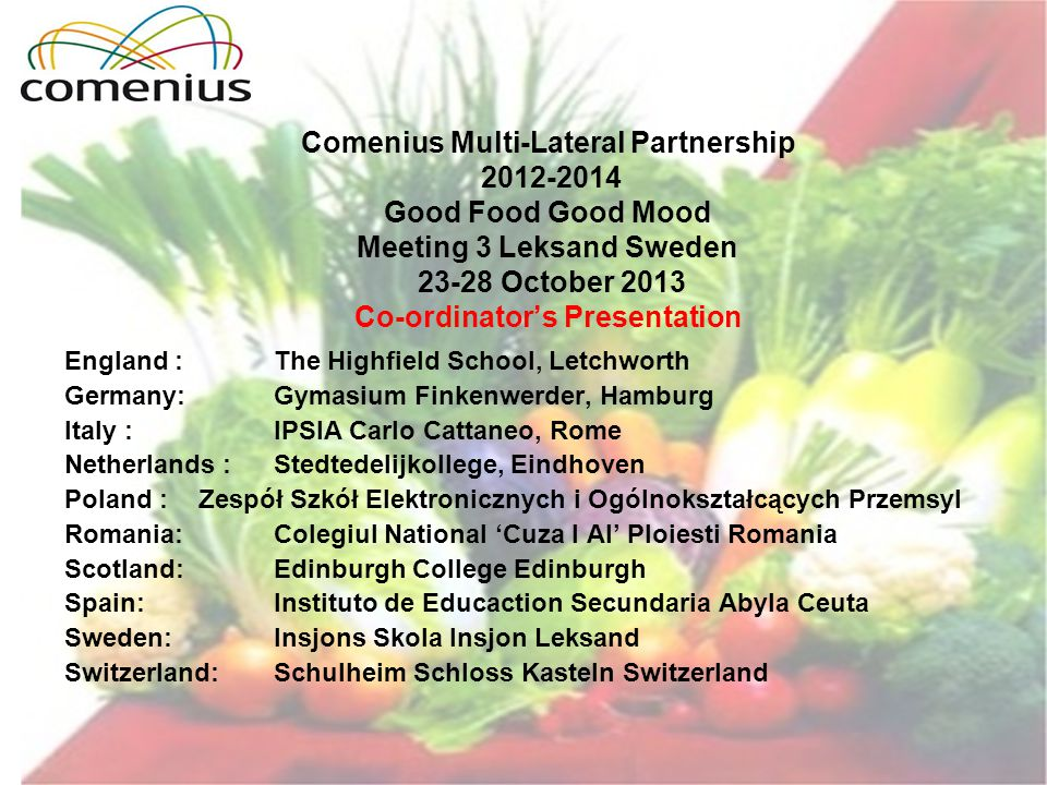 Comenius Multi-Lateral Partnership 2012-2014 Good Food Good Mood Meeting 3 Leksand Sweden 23-28 October 2013 Co-ordinators Presentation England : The