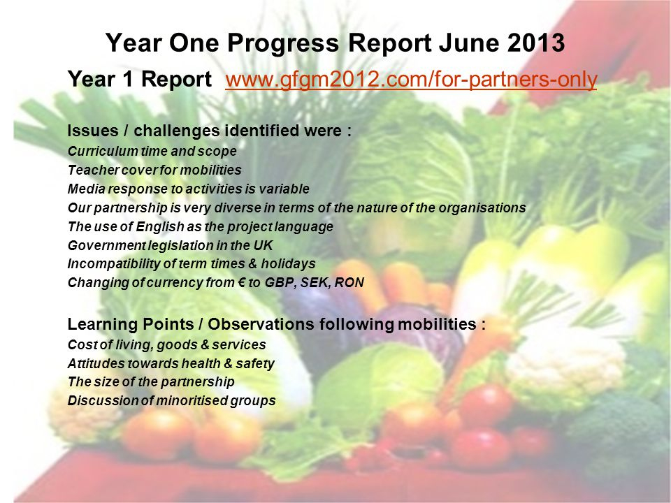 Year One Progress Report June 2013 Year 1 Report www.gfgm2012.com/for-partners-onlywww.gfgm2012.com/for-partners-only Issues / challenges identified w
