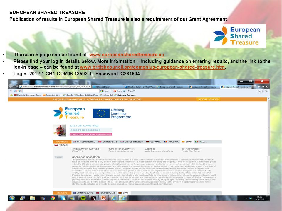 EUROPEAN SHARED TREASURE Publication of results in European Shared Treasure is also a requirement of our Grant Agreement The search page can be found