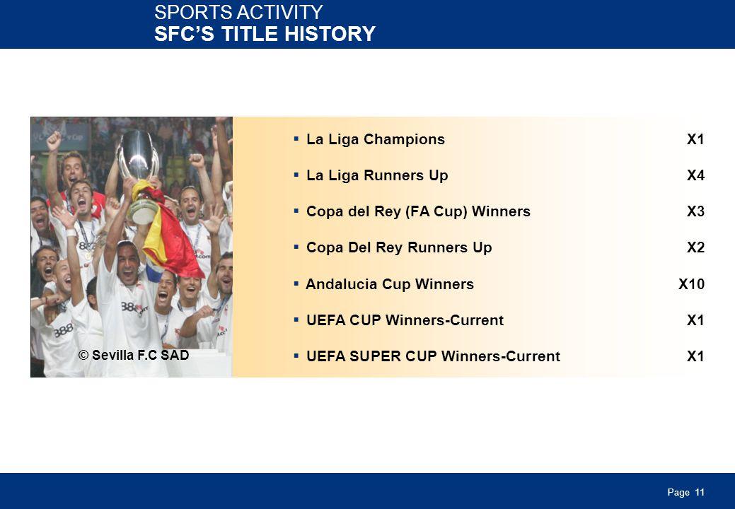 Page 11 SPORTS ACTIVITY SFCS TITLE HISTORY La Liga ChampionsX1 La Liga Runners UpX4 Copa del Rey (FA Cup) WinnersX3 Copa Del Rey Runners UpX2 Andalucia Cup WinnersX10 UEFA CUP Winners-CurrentX1 UEFA SUPER CUP Winners-CurrentX1 © Sevilla F.C SAD