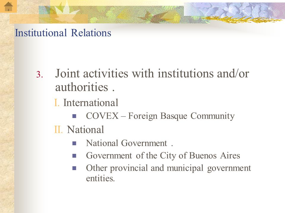 Institutional Relations 3. Joint activities with institutions and/or authorities.