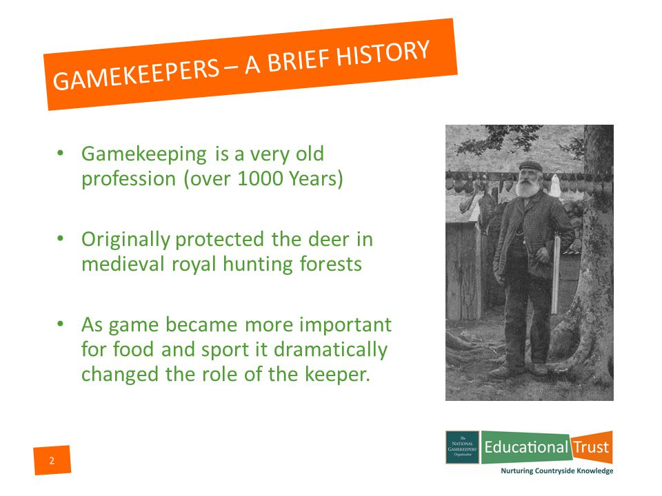 1 GAMEKEEPERS THEIR ROLE IN SUSTAINABLE COUNTRYSIDE MANAGEMENT 1