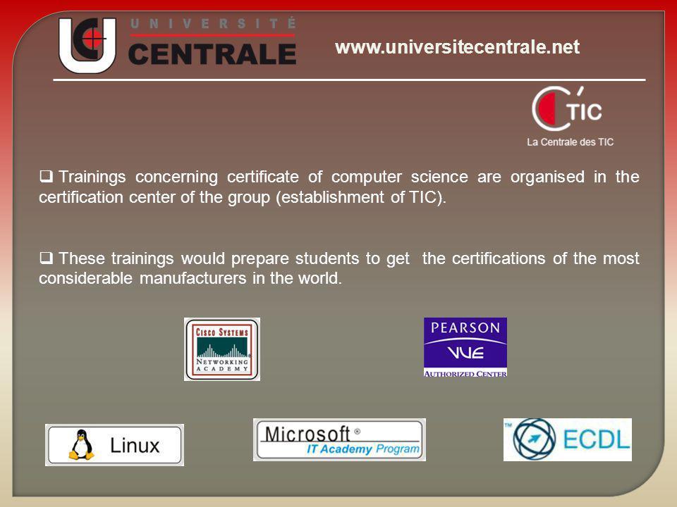 www.universitecentrale.net The Central University The Central University is the first Center of Examination in Tunisia (Establishment of Education)