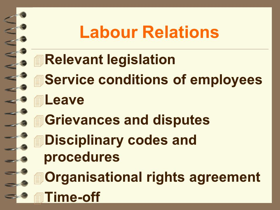Labour Relations 4 Relevant legislation 4 Service conditions of employees 4 Leave 4 Grievances and disputes 4 Disciplinary codes and procedures 4 Organisational rights agreement 4 Time-off