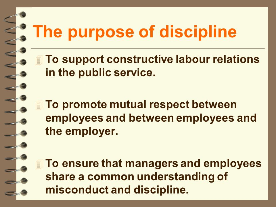 The purpose of discipline 4 To support constructive labour relations in the public service.