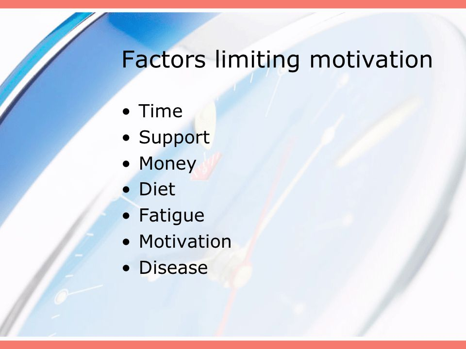 Factors limiting motivation Time Support Money Diet Fatigue Motivation Disease