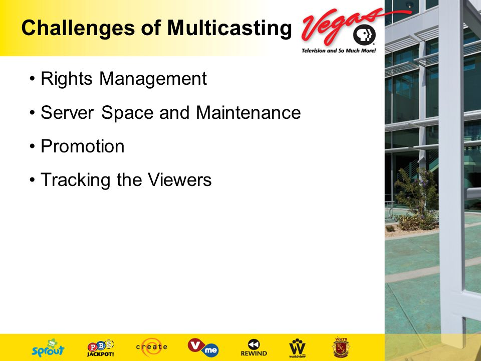 Challenges of Multicasting Rights Management Server Space and Maintenance Promotion Tracking the Viewers