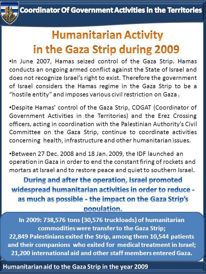In 2009: 738,576 tons (30,576 truckloads) of humanitarian commodities were transfer to the Gaza Strip; 22,849 Palestinians exited the Strip, among them 10,544 patients and their companions who exited for medical treatment in Israel; 21,200 international aid and other staff members entered Gaza.