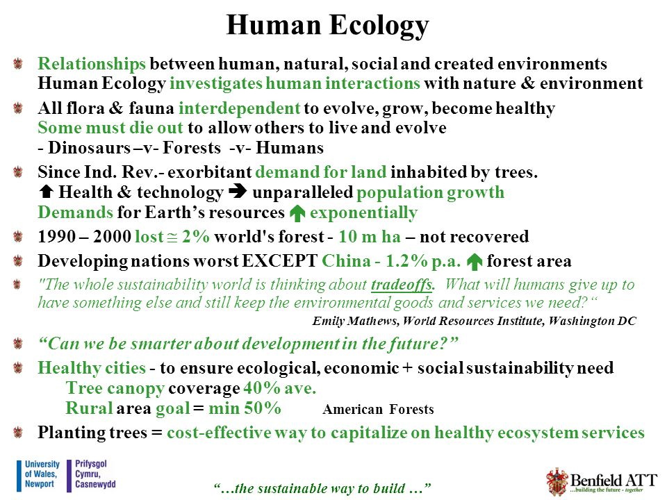 Human Ecology Relationships between human, natural, social and created environments Human Ecology investigates human interactions with nature & environment All flora & fauna interdependent to evolve, grow, become healthy Some must die out to allow others to live and evolve - Dinosaurs –v- Forests -v- Humans Since Ind.