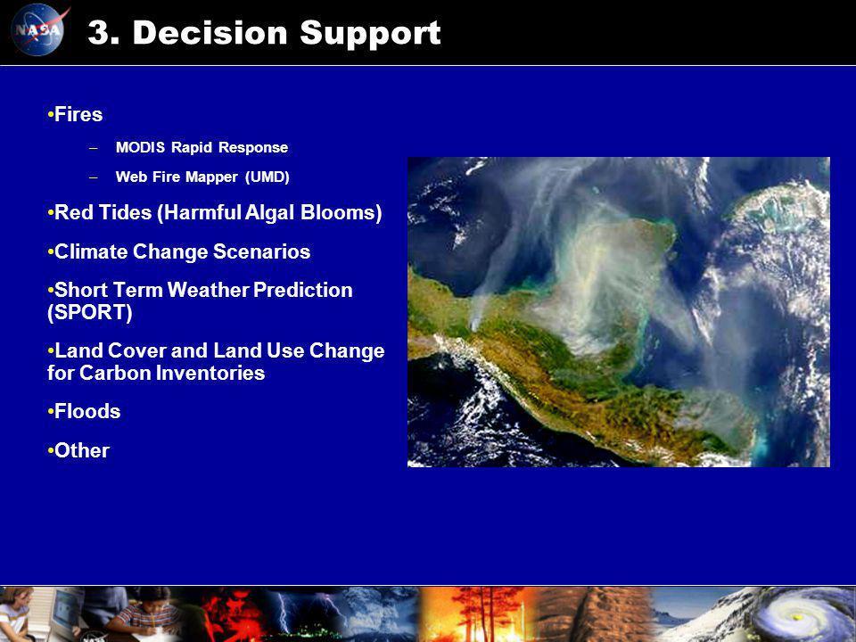 3. Decision Support Fires –MODIS Rapid Response –Web Fire Mapper (UMD) Red Tides (Harmful Algal Blooms) Climate Change Scenarios Short Term Weather Pr
