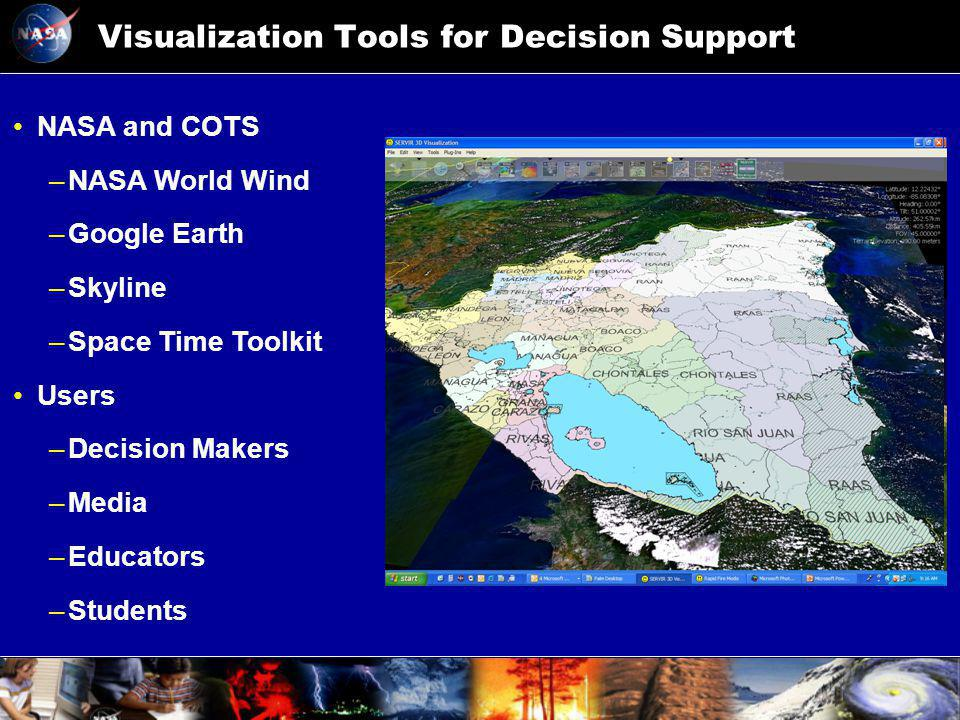 Visualization Tools for Decision Support NASA and COTS –NASA World Wind –Google Earth –Skyline –Space Time Toolkit Users –Decision Makers –Media –Educators –Students