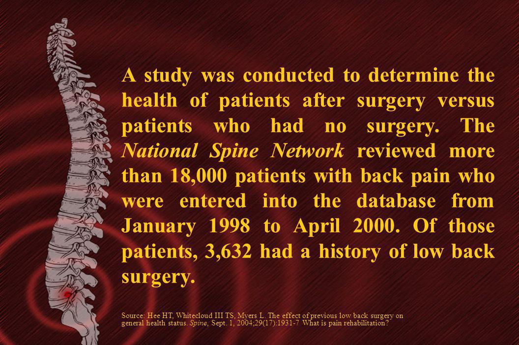 A study was conducted to determine the health of patients after surgery versus patients who had no surgery. The National Spine Network reviewed more t