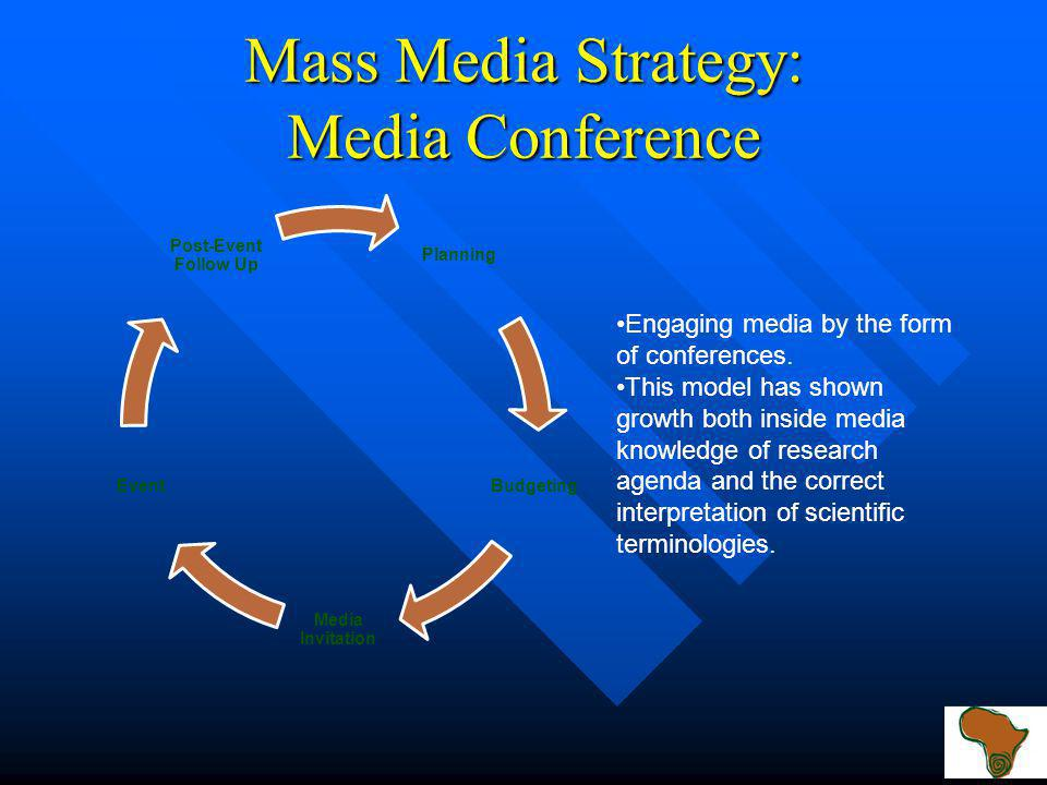 Mass Media Strategy: Media Conference Planning Budgeting Media Invitation Event Post-Event Follow Up Engaging media by the form of conferences.