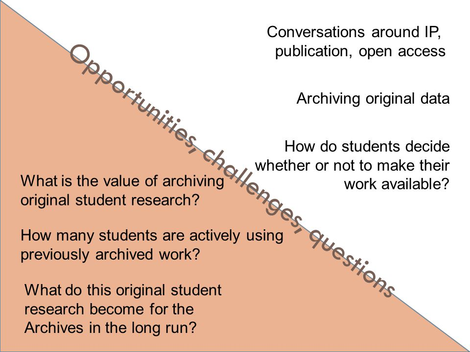Opportunities, challenges, questions Conversations around IP, publication, open access Archiving original data How many students are actively using pr