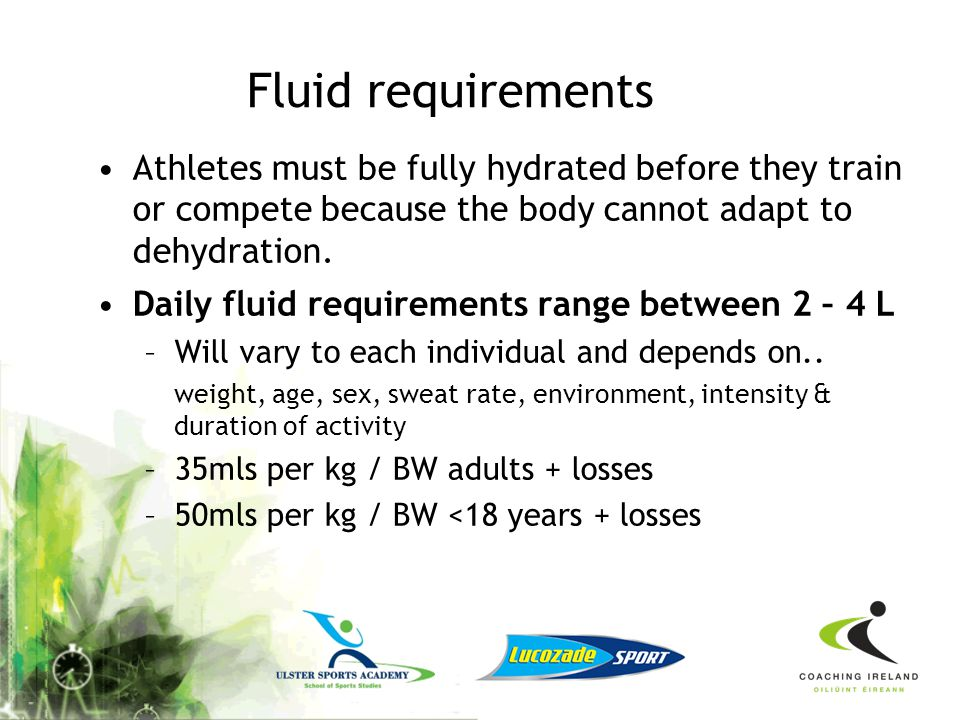 How to Recognise Dehydration Changes in body weight (pre and post training) –Allows coaches and medical staff to see what athletes can usually lose in a training session or competition.
