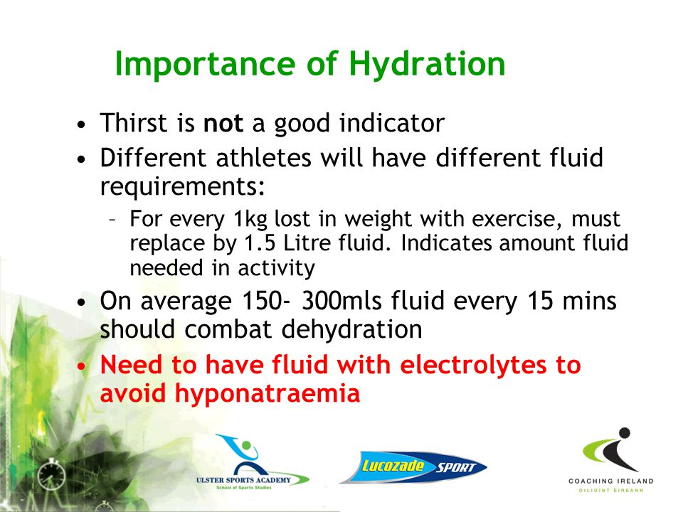 You can easily become dehydrated over successive days of training & competition if you fail to re- hydrate fully between workouts Check hydration stat