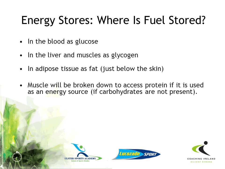 Adequate Energy There are four components in food and drinks that are capable of producing energy –Fat (essential nutrient, little risk of depleting s