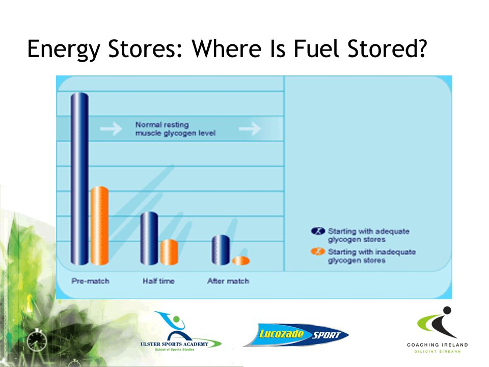 Energy Stores: Where Is Fuel Stored? In the blood as glucose In the liver and muscles as glycogen In adipose tissue as fat (just below the skin) Muscl