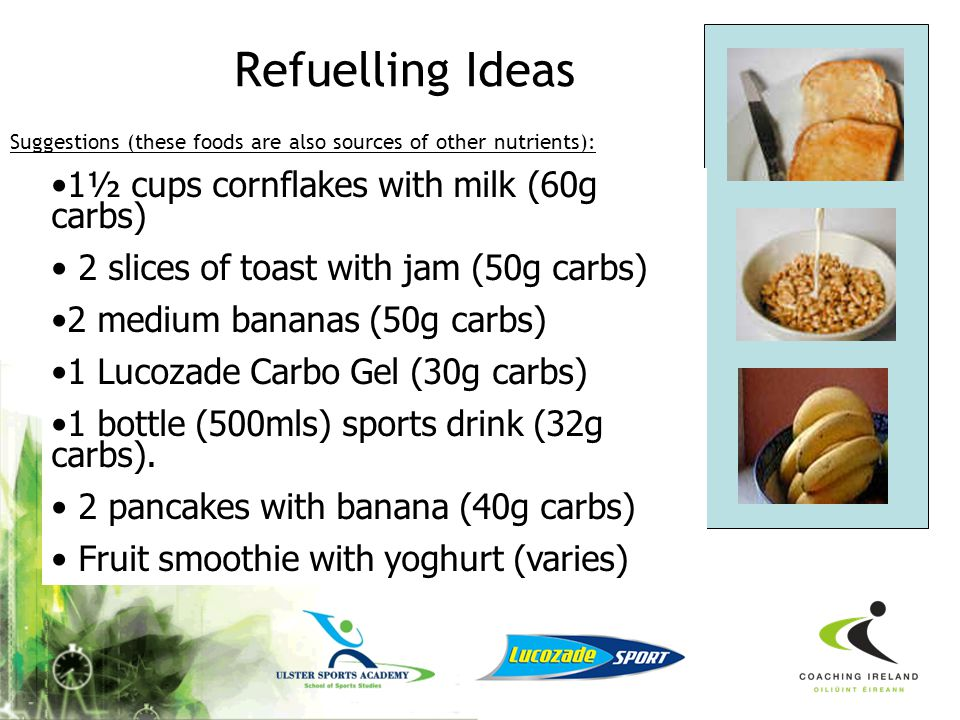 Recovery Ideas Skimmed milk with flavouring Milkshake Drinkable yoghurts Smoothie Recovery sports drinks The amount needed will depend on your weight