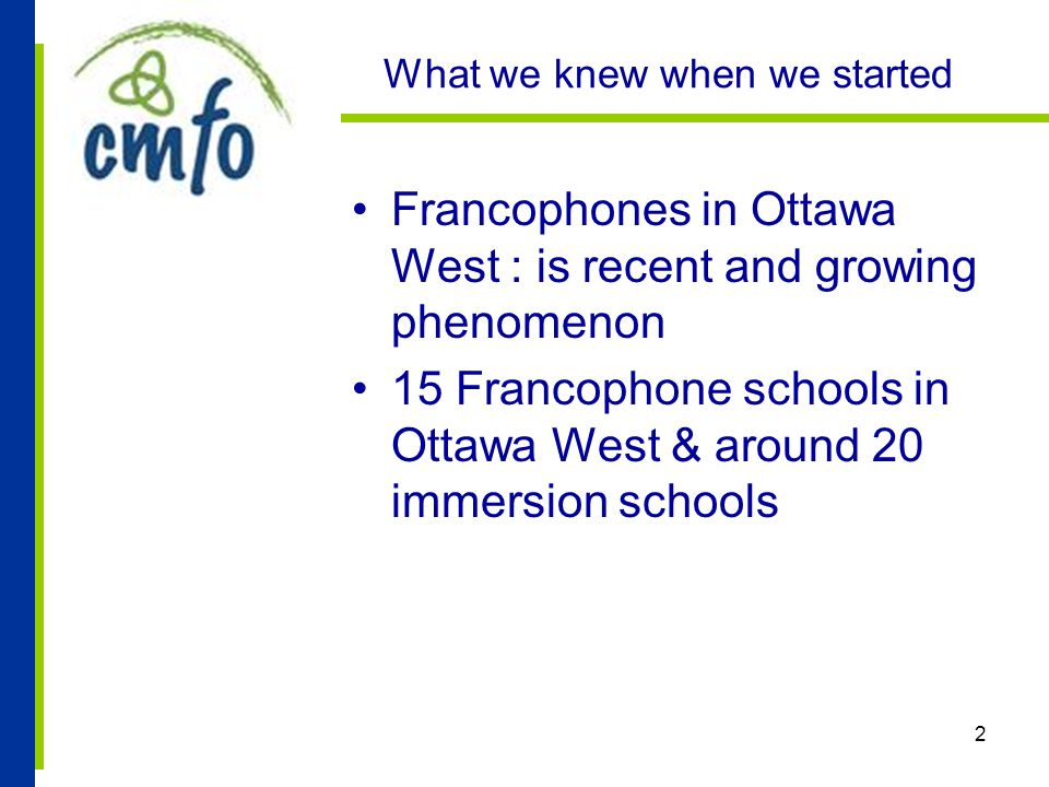 2 What we knew when we started Francophones in Ottawa West : is recent and growing phenomenon 15 Francophone schools in Ottawa West & around 20 immersion schools