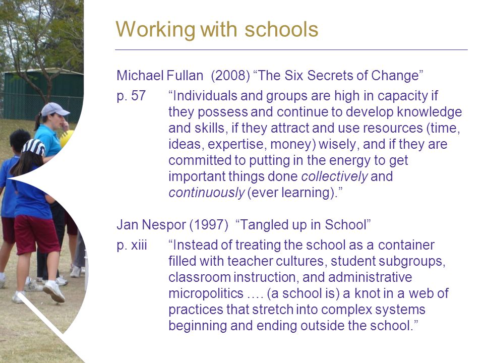 Name of presentation Month 2008 Michael Fullan (2008) The Six Secrets of Change p.