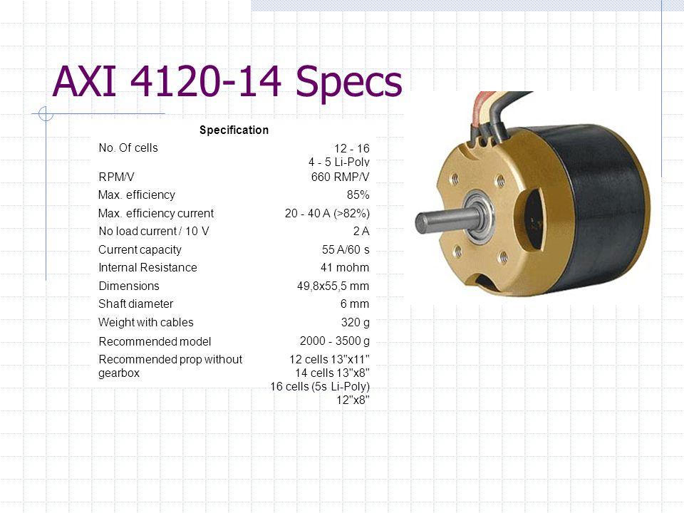 AXI 4120-14 Specs Specification No. Of cells12 - 16 4 - 5 Li-Poly RPM/V660 RMP/V Max.