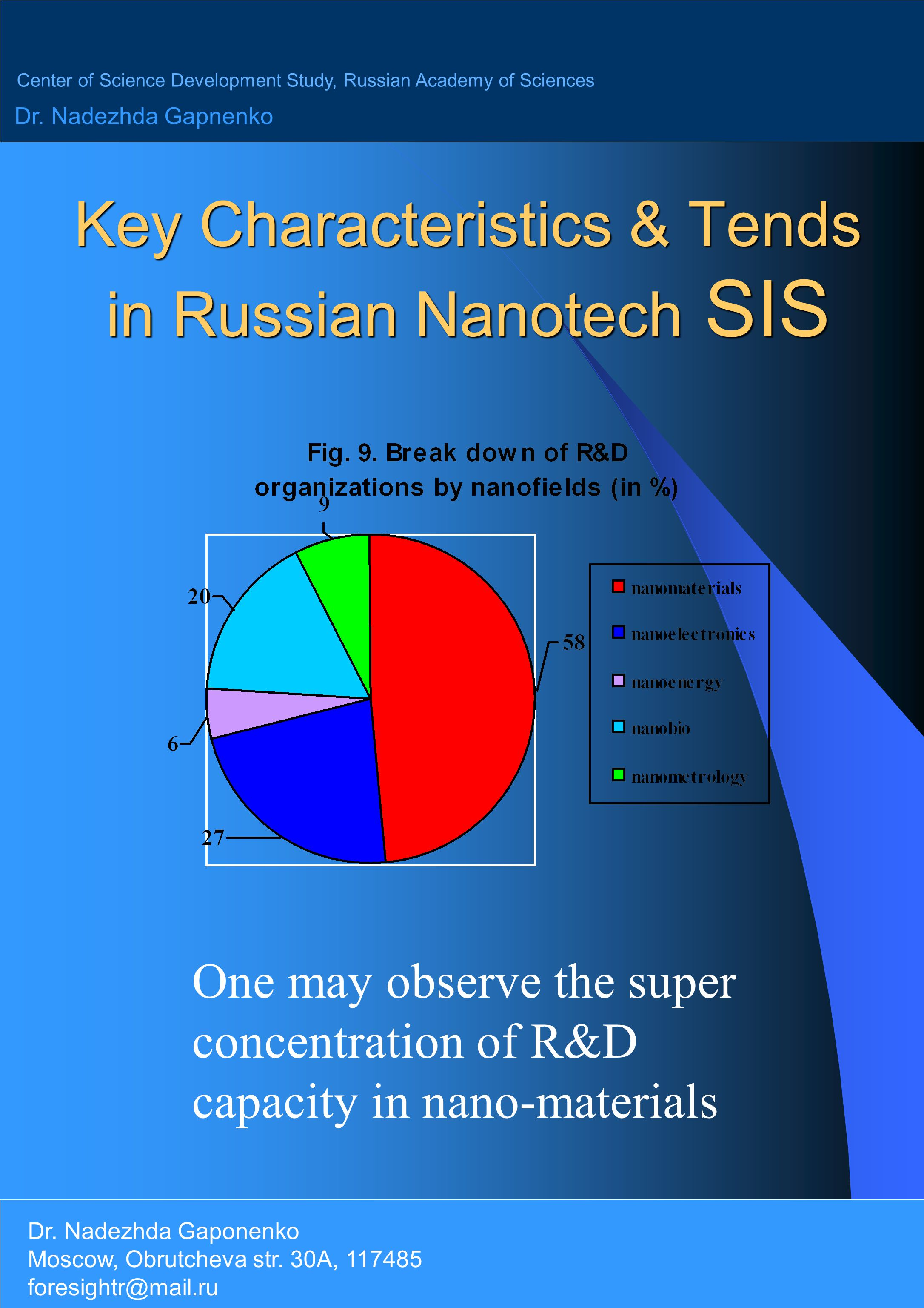 Key Characteristics & Tends in Russian Nanotech SIS One may observe the super concentration of R&D capacity in nano-materials Center of Science Development Study, Russian Academy of Sciences Dr.