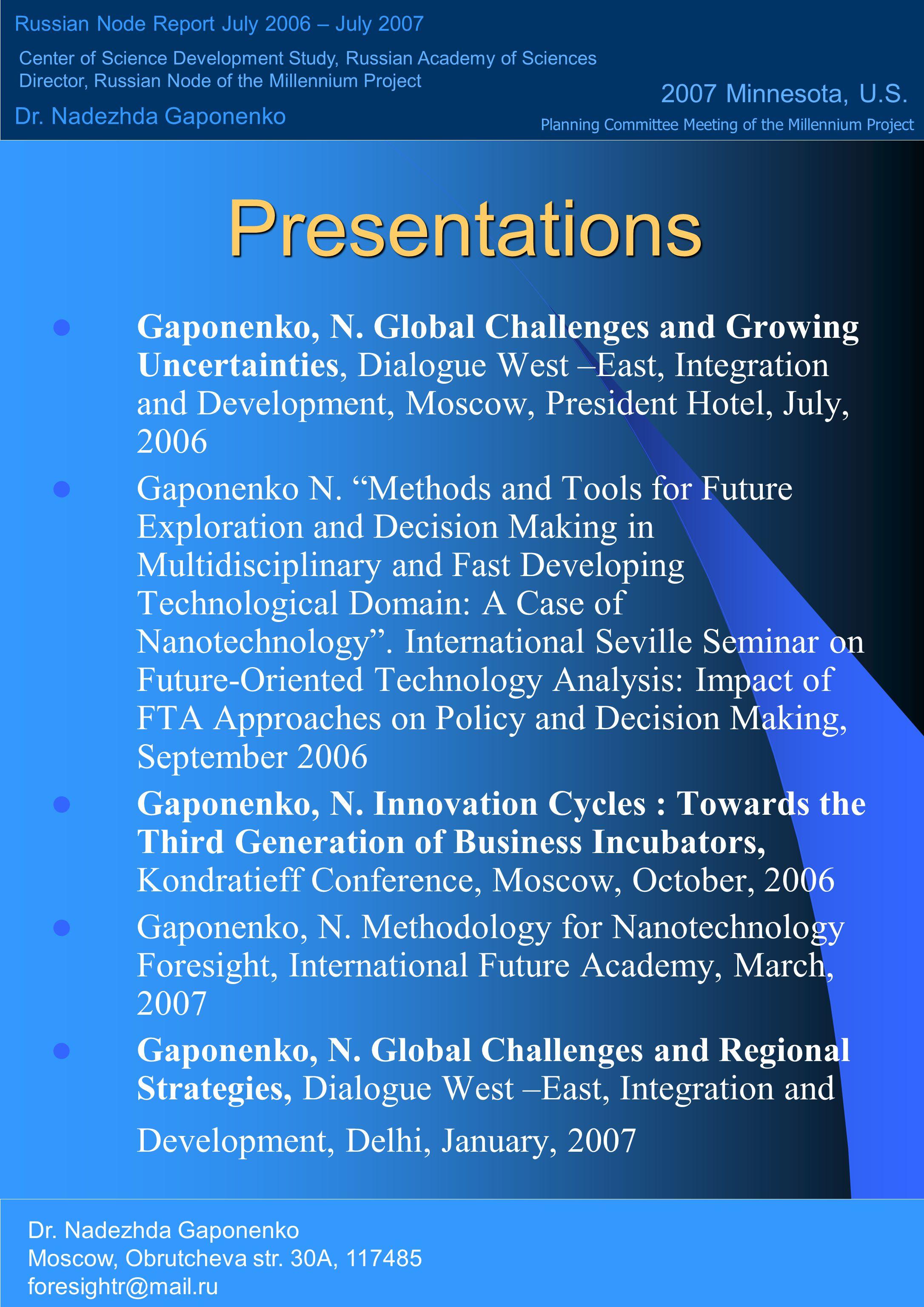 Presentations Gaponenko, N.