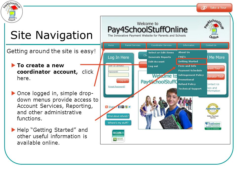 Site Navigation Getting around the site is easy! To create a new coordinator account, click here. Once logged in, simple drop- down menus provide acce